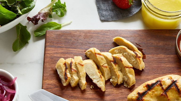 A fillet of lab-grown cultured chicken developed by Eat Just. Pic: Eat Just