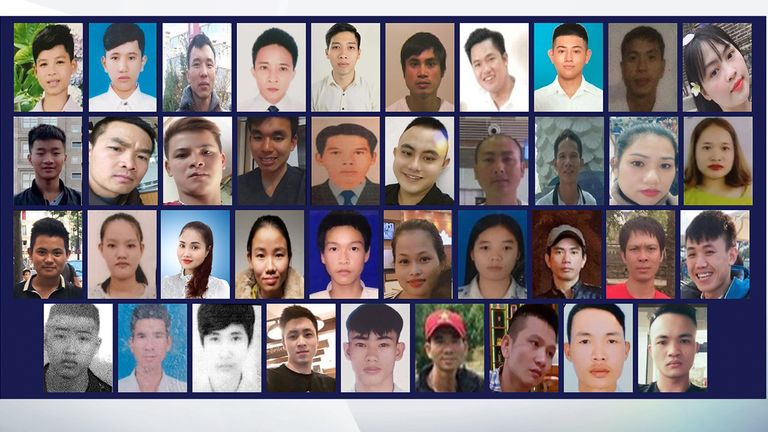 The 39 people whose bodies were discovered in a lorry in Grays, Essex, in October 2019. Pic: Essex Police
