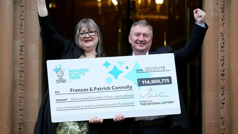 Frances and Patrick have given away almost half their winnings