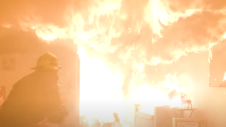 A firefighter rushes to tackle the blaze. Pic: US Consumer Product Safety Commission