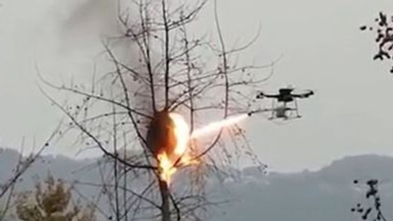 This drone spits fire at the nests of wasps in China
