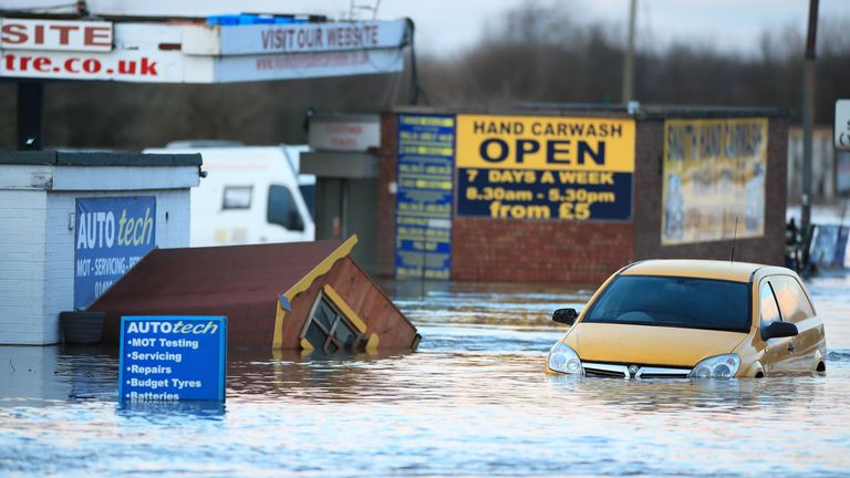 Flooding in East Yorkshire after the River Aire burst its banks in February