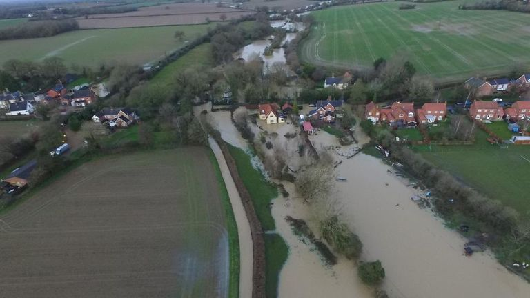 The view of the The Beck in Pulham St Mary, Norfolk following the Norfolk Floods overnight. Pic: Clayton Hudson