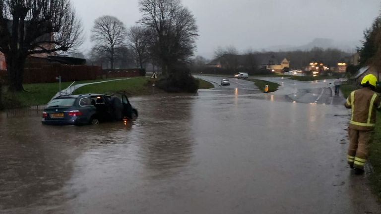 Handout photo taken with permission from the Twitter feed of Gloucestershire Police of flooding in Gloucestershire, as dozens of flood warnings were in place on Wednesday night after heavy rain fell across England and Wales affecting traffic.
