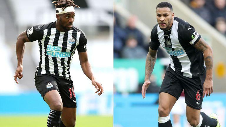 Newcastle's Allan Saint-Maximin (L) and Jamaal Lascelles