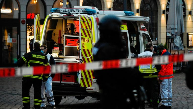 Police and ambulances work at one of the scenes where a car drove into pedestrians in Trier, southwestern Germany, on December 1, 2020. - At least two people were killed and several injured when a car drove into a pedestrian zone in the southwestern German city of Trier on December 1, 2020, police said, adding that the driver had been arrested. (Photo by Jean-Christophe VERHAEGEN / AFP) / ALTERNATIVE CROP (Photo by JEAN-CHRISTOPHE VERHAEGEN/AFP via Getty Images)