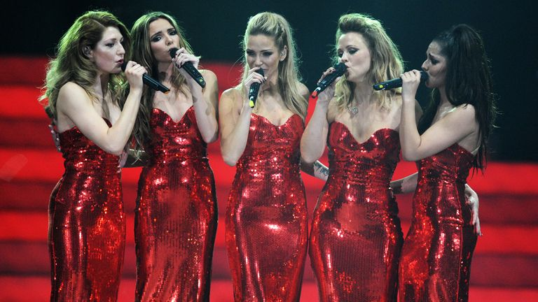 "(MINIMUM FEES APPLY OF GBP150 PRINT OR GBP75 WEB)(EXCLUSIVE COVERAGE) Girls Aloud perform on stage on the first night of their ""Girls Aloud - The Hits Tour 2013"" tour, at the Metro Radio Arena on February 21, 2013 in Newcastle, United Kingdom. (Photo by Dave J Hogan/Getty Images)"
