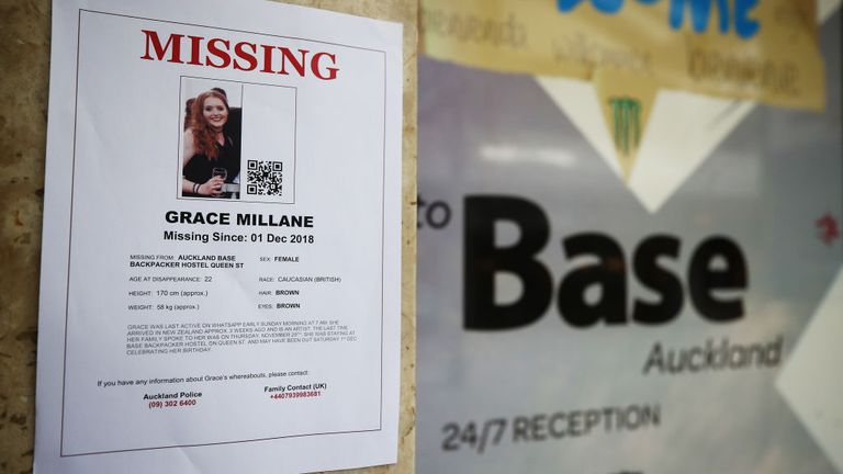 AUCKLAND, NEW ZEALAND - DECEMBER 07: A poster for missing British girl Grace Millane is displayed outside the Base backpackers where Grace had been staying on December 07, 2018 in Auckland, New Zealand.