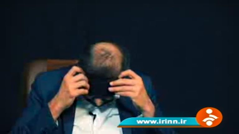 Mr Habib Chaab screengrab from Iran State TV removing his blindfold in the confession video.