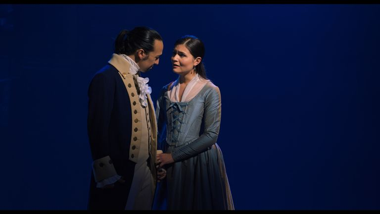 Lin-Manuel Miranda is Alexander Hamilton and Phillipa Soo is Eliza Hamilton in HAMILTON, the filmed version of the original Broadway production. Pic: Disney +