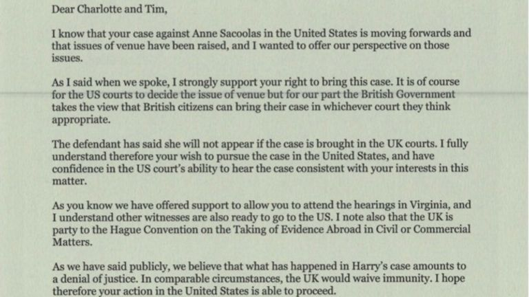 Harry's family has been offered support to attend court hearings in the US