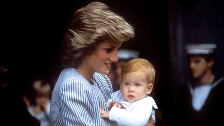 The Princess of Wales carries baby Prince Harry as the Royal Family set sail for the Western Isles.
