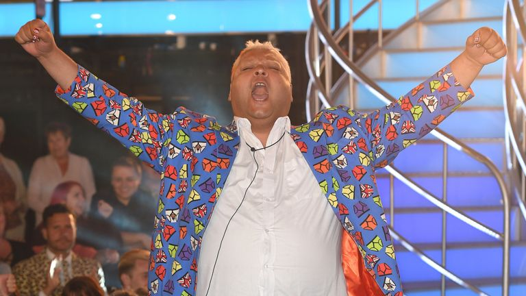 BOREHAMWOOD, ENGLAND - AUGUST 16: Heavy D becomes the 4th housemate evicted from Celebrity Big Brother 2016 at Elstree Studios on August 16, 2016 in Borehamwood, England