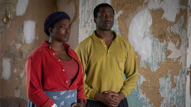 His House: Wunmi Mosaku as Rial Majur, Sope Dirisu as Bol Majur. Pic: Aidan Monaghan/ Netflix