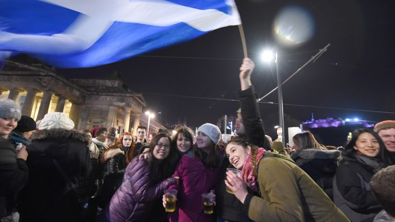People gathered for the annual Hogmanay Street Party in Edinburgh, Scotland, UK on December 31, 2014. Hogmanay is the Scots word for the last day of the year, synonymous with the celebration of the New Year in the Scottish manner. Photo by Guy Durand/ABACAPRESS.COM