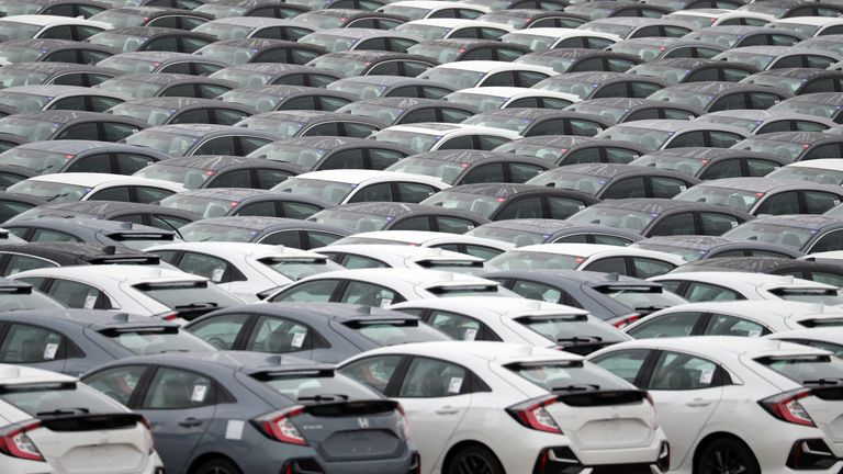General view of Honda Civic cars lines up ready for export at the Western Docks at the Port of Southampton