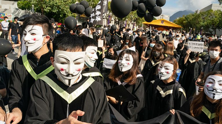 A large group of students protested during their graduation last month