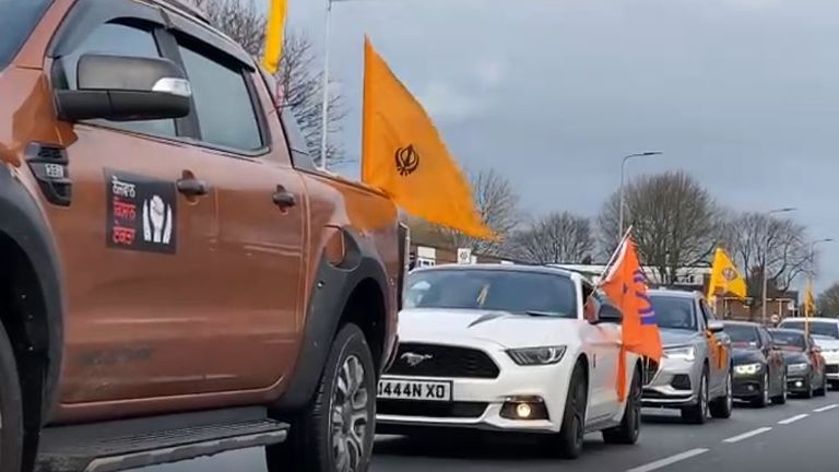 In the UK, cars headed from across the country to Birmingham to protest on Saturday. Pic: Rajan Jagait
