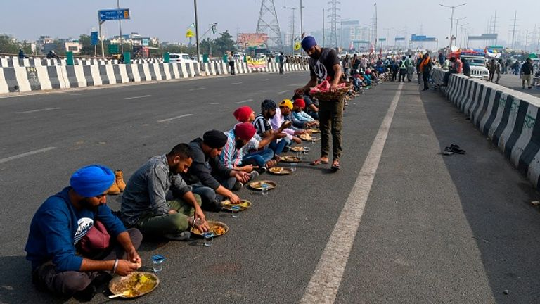Farmers are blocking roads around New Delhi after being blocked from marching into the capital