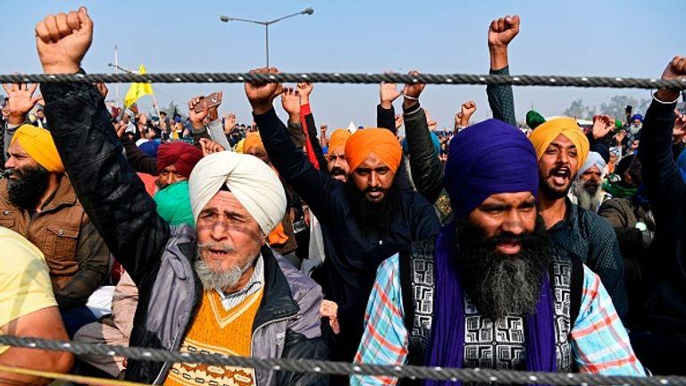 Farmers protest at the Delhi-Haryana state border in Singhu