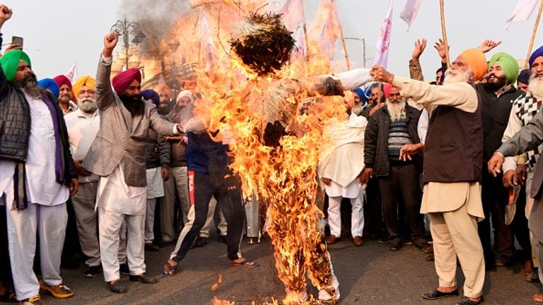 Farmers in Amritsar burned an effigy of the prime minister and other figures last week