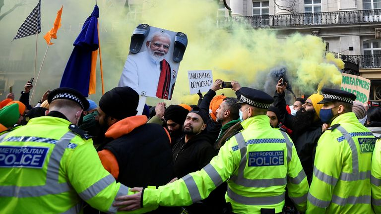 London also saw large protests last weekend outside the Indian High Commission