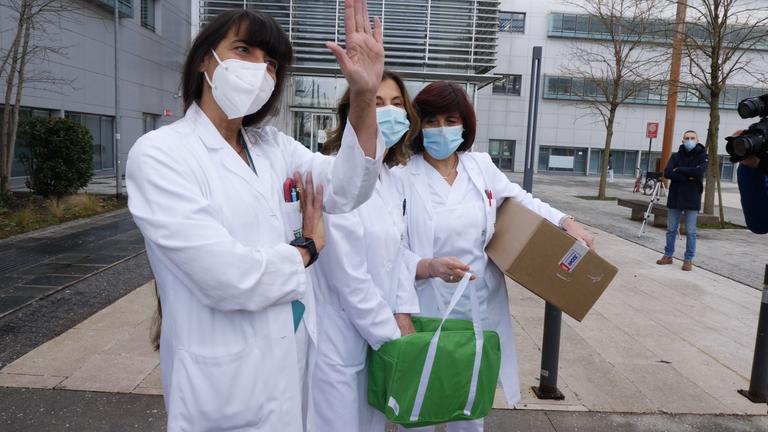 Medics at hospital in Bergamo take possession of the Pfizer vaccine