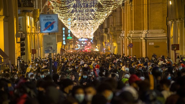 The streets of Bologna were packed ahead of a ban on travelling between Italy's regions