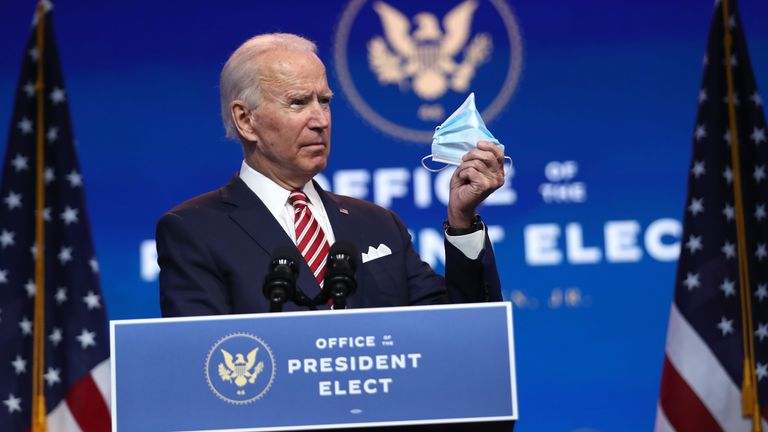 Covid 19 Joe Biden To Ask All Americans To Wear A Mask For First 100 Days Of Presidency Us News Sky News