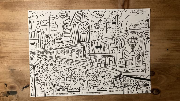 Schoolboy artist Joe Whale has created a doodle to mark the trip