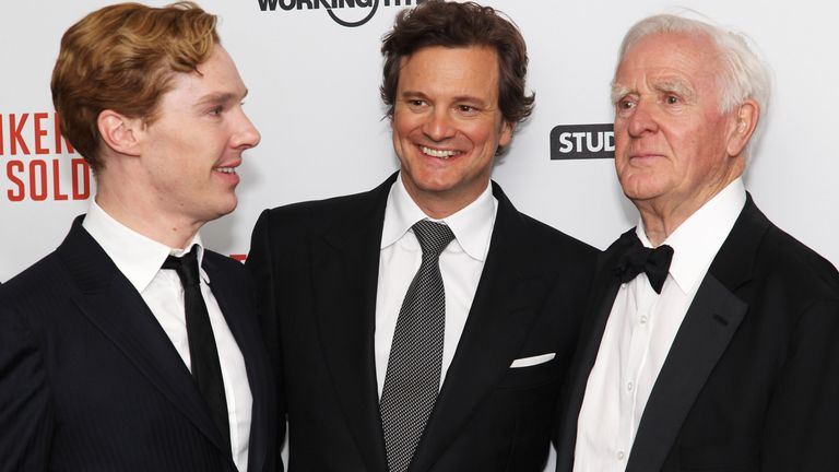 John le Carre (R) with actors Benedict Cumberbatch (L) and Colin Firth at the UK premiere of Tinker Tailor Soldier Spy