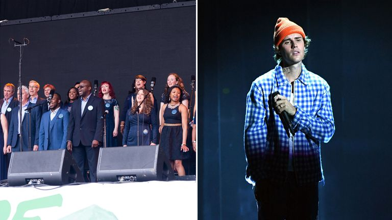 The NHS Choir and Justin Bieber have teamed up in a bid to nab the Christmas number one