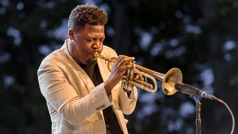 American jazz musician Keyon Harrold performs on trumpet with the Gregory Porter Septet at a concert in the Blue Note Jazz Festival at Central Park SummerStage, New York, New York, June 2, 2018...(Photo by Jack Vartoogian/Getty Images)