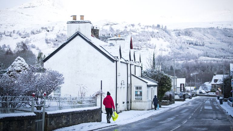 Snow in Killin, Stirlingshire, on Sunday