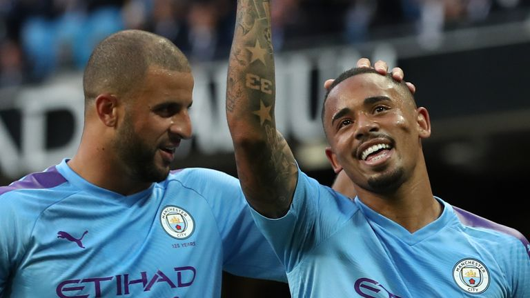 Kyle Walker (L) and Gabriel Jesus