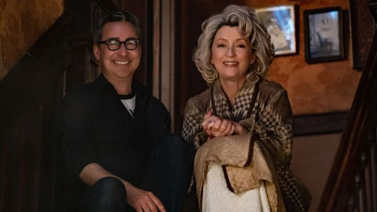 Lesley Manville (R) with director Thomas Bezucha (L). Pic: Focus Features