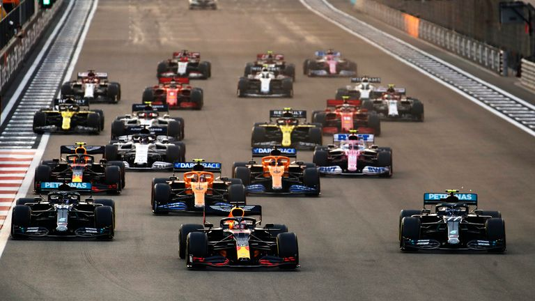 Max Verstappen ahead of Lewis Hamilton , who started third on the grid, at the Abu Dhabi Grand Prix
