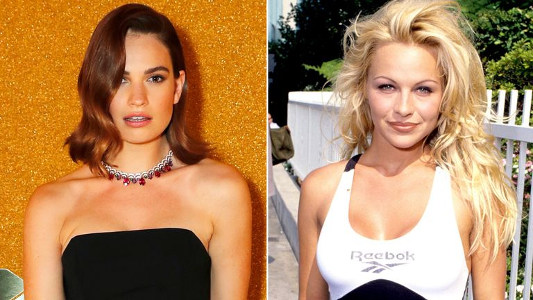 Lily James and Pamela Anderson