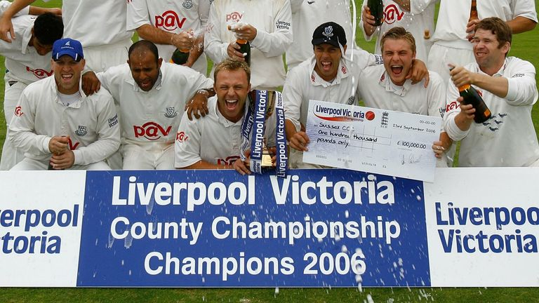 NOTTINGHAM, UNITED KINGDOM - SEPTEMBER 22: Sussex pose for a team photo after being crowned champions after the Liverpool Victoria Insurance County Championship match between Nottinghamshire and Sussex at Trent Bridge on September 22, 2006 in Nottingham, England