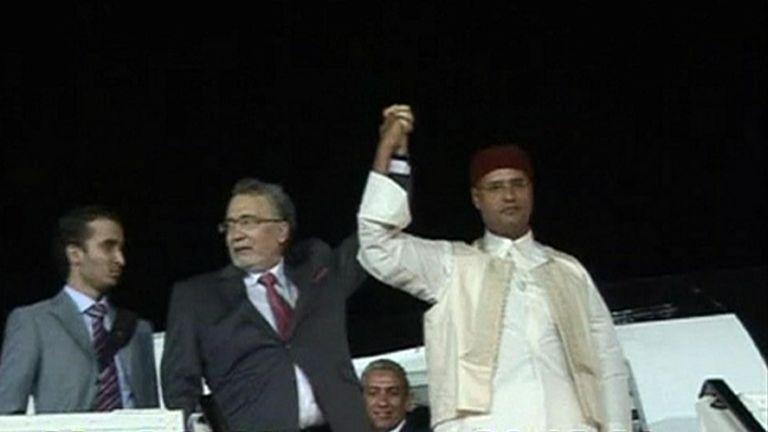 Abdel Basset al-Megrahi (L)