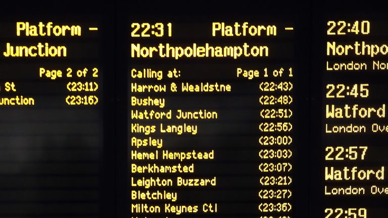 The departure board at London Euston Station which reads 'Northpolehampton', as the Duke and Duchess of Cambridge leave London ahead of their tour across the UK.