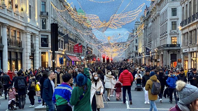 Crowds in shopping in London. Pic: Karen Ellis