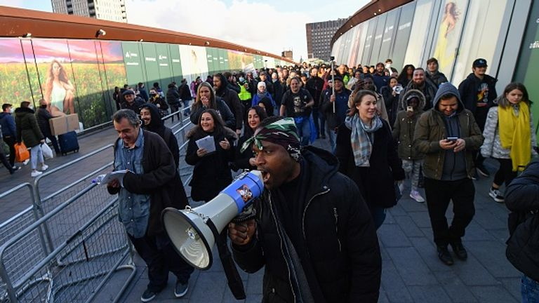 Shoppers at Westfield in Stratford, east London, had to contend with lockdown protesters as well