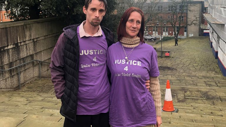 "Rebbecca Cooper, mother of Louise Smith, with partner Richard O'Shea outside Winchester Crown Court. Shane Mays has been found guilty at of the murder of the 16-year-old who was ""brutally"" killed in woodland in Havant, Hampshire, on May 8."