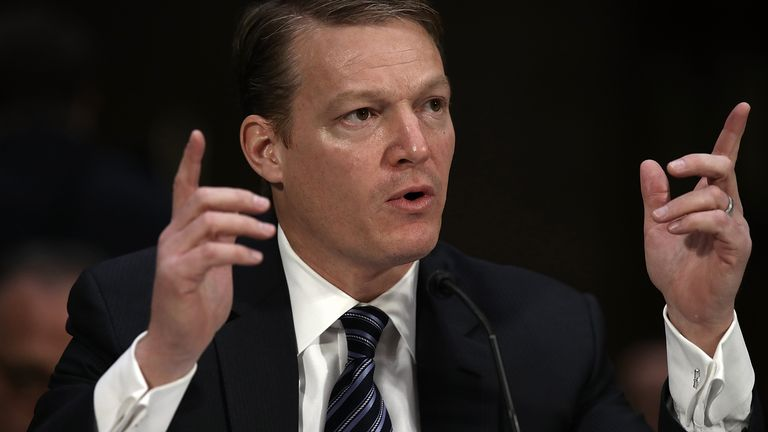 Kevin Mandia, CEO of FireEye, testifies before the Senate Intelligence Committee March 30, 2017 in Washington, DC