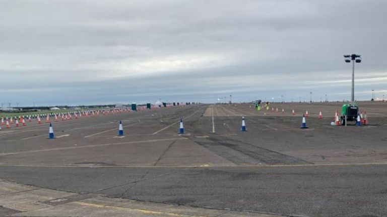 Manston Airport in Kent, after it was cleared of lorries following a huge backlog caused by the France travel and partial trade ban. Pic: Grant Shapps