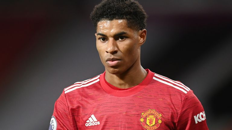 Marcus Rashford of Manchester United in action during the Premier League match against Leeds United at Old Trafford on December 20, 2020