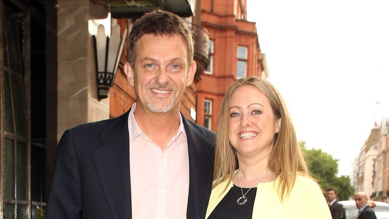 Matthew Wright and his wife Amelia attend the Richard Desmond book launch party at the Claridges hotel ballroom on June 15, 2015 in London