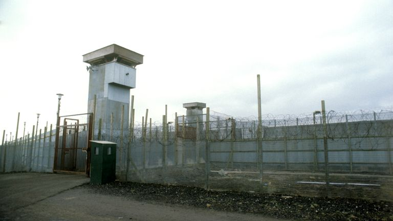 Watch towers at the Maze Prison (formerly Long Kesh), near Belfast, Northern Ireland, 1979