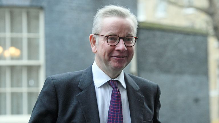 Michael Gove, Minister for the Cabinet Office and Chancellor of the Duchy of Lancaster, arrives in Downing Street